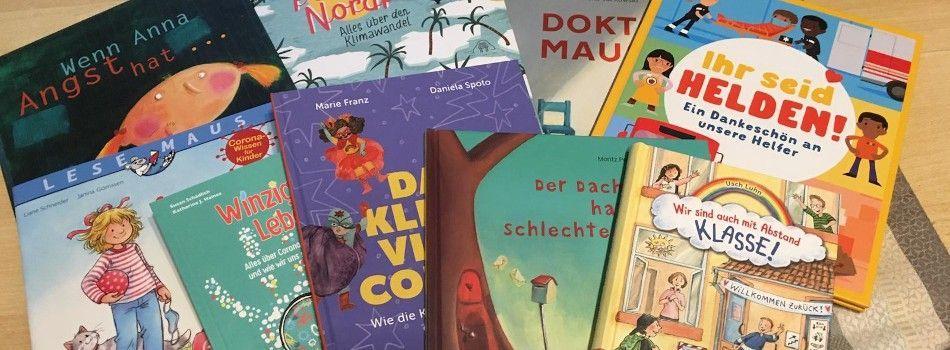 """<div class=slidertitel>NEU: Krisenbücher</div><div class=slidertext>Dass """"Coronavirus"""" nicht automatisch auch """"Spaßbremse"""" bedeutet, zeigen die vielen bunten Geschichten aus der Kinderbuchwelt, ab sofort bei uns in der Bücherei.</div>"""