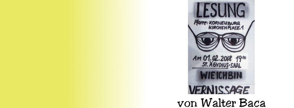 <div class=slidertitel>Lesung & Vernissage</div><div class=slidertext>Musikalische Umrahmung:<br/>Alfred & Roman / Country-Rock-Music<br/>Ausstellung bis 01.03.2018<br/></div>
