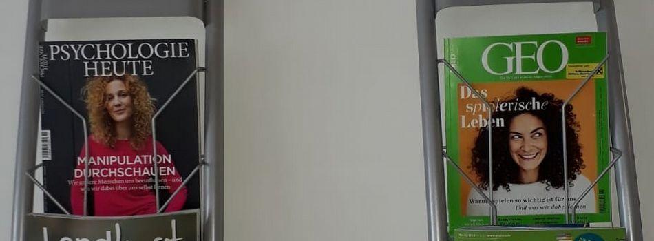 <div class=slidertitel>Zeitschriftenverleih</div><div class=slidertext>Welt der Frau, Psychologie heute, Landlust, natur & heilen,<br/>Wohnen und Garten, Servus sowie Geo und Geolino kann<br/>man sich seit Ende Oktober für 0,30 / Woche ausleihen<br/><br/></div>
